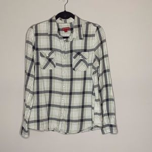Merona Green and Grey Plaid Flannel